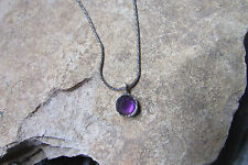 Genuine Amethyst Single Bead Beautiful Oxidized Sterling Silver Rope Necklace