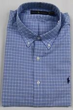 Polo Ralph Lauren Blue Plaid Button Down Classic Fit Dress Shirt Navy Pony NWT