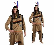 Adults Red Indian Costume Brave Chief Mens Fancy Dress Outfit + Head Dress