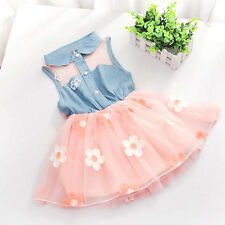 Girl Baby Kid Sleeveless Sheer Denim Tulle Skirt Tutu Dress Party One Piece 0-4Y