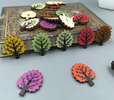 Retro color Trees 2 holes Wooden Button Sewing  Scrapbooking Crafts wood 31mm