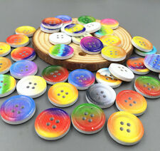 20-100pcs Mixed Color Wooden Buttons Sewing Scrapbook  Craft Decorative 18mm