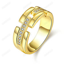 Women Fashion Cubic Zirconia Band Ring 18K Real Gold Plated All-match Jewelry