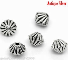 Wholesale HX Silver Tone Bicone Spacer Beads Findings