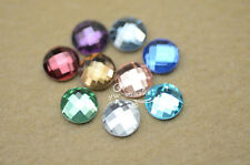 100 PCS 10mm Round Glass Faceted Glass Flat Back Jewels