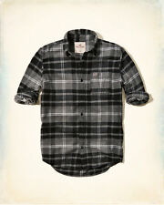 NWT Hollister by Abercrombie Mens Plaid Flannel Shirt Grey 100 %Cotton