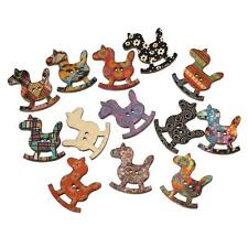 Wooden Sewing Button Scrapbooking Rocking Horse At Random 2 Holes Pattern 3.0cm