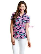 88.00 NWT LILLY PULITZER TROPHY POLO BRIGHT NAVY CHERRY PICKER XS