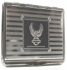 Tobacco Tin 1 oz -  Hinged Lid and Paper Holder - Chrome Metal in 4 Designs
