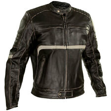 Xelement Men Charcoal Drk Brn Leather Armored Motorcycle Jacket BXU1771