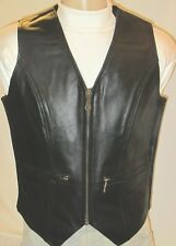 WOMEN'S ZIP FRONT MIDWEIGHT BLACK LEATHER MOTORCYCLE VEST Sizes