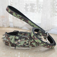 Pet Collars Camouflage Leather Spikes Studded Dog Collar Leash Pitbull Terrier
