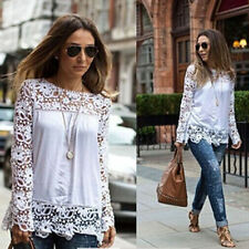 Ladies Chiffon Long Sleeve Embroidery White Lace Crochet Shirts Tops Blouses