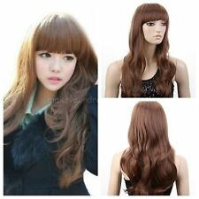 New Women Long Curly Full Wig Brown/Orange Long Full Hair Women Hair Wig+Cap