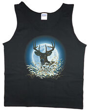 Men's tank top white tailed deer buck hunting moon nature wildlife t-shirt tee