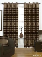 BROWN NATURAL THICK HEAVY Lined EYELET Curtains 3 Sizes