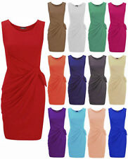 Womens Ladies Plus Size Jersey Drape Bow Pleated Shift Smart Party Dress 8-24