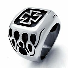 Silver Flame Iron Cross Mens Boys 316L Stainless Steel Biker Ring Us Size 8-13