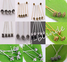 LOTS Silver Golden Plated Metal Head/Crown/Ball Pins Jewelry Finding 50mm