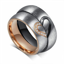CZ Titanium Steel Forever Love Heart Couple Promise Engagement Ring Wedding Band