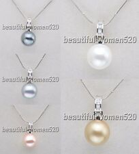 X0111 16mm Round SOUTH SEA SHELL PEARL Inlay Crystal PENDANT