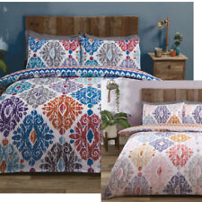 Damask Floral Regency Reversible Duvet Quilt Cover Bedding Set + Pillowcases