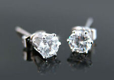 Wholesale Lot 12 Pairs Cubic Zirconia Stud White Gold Plated 5mm Earrings E181W