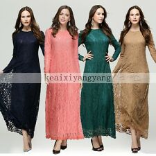 Muslim Full Lace Long Sleeve Kaftan Islamic Maxi Dress Arab Jilbab Abaya Clothes