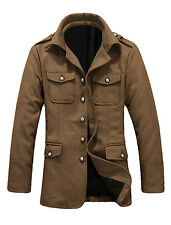 Mens Stylish Point Collar Long Sleeve Button Down Casual Coat