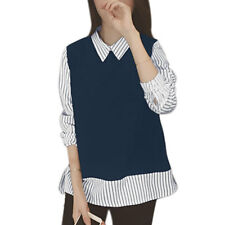Women Point Collar Long Sleeves Stripes Panel Design High Low Hem Casual Top