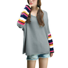 Lady Round Neck Stripes Batwing Sleeves Loose Sweater
