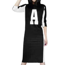 Women Crew Neck Long Sleeves Contrast Color Letter Prints Sheath Dress