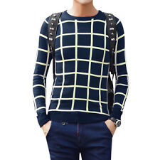 Men Crew Neck Long Sleeve Pullover Plaids Slim Fit Casual Jumper