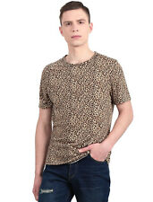 Man Stylish Round Neck Short Sleeves Leopard Print Tee Shirt