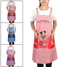 Canvas Home Kitchen Cooking Dogs Grid Pattern Apron w Double Front Pocket