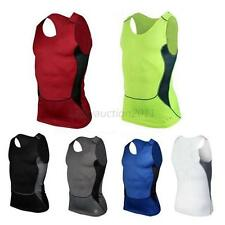 Men Summer GYM Base Layer Top Compression Sleeveless Dri-fit Sports Tight Shirts