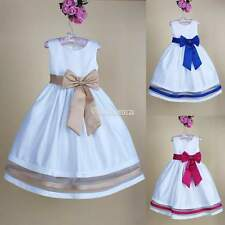 2-9 Y Girls Baby Kid Bowknot Dance Pageant Sleeveless Party Wedding Ruffle Dress