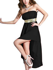 Lady Strapless High Low Hem Chiffon Corset Dress