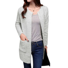 Women Round Neck Long Sleeve Front Opening Tunic Sweater Cardigan