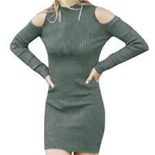 Women Mock Neck Long Sleeves Cut Out Shoulder Ribbed Knitted Sheath Dress