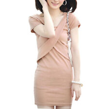 Lady Scoop Neck Short Sleeve Stretchy Summer Casual Dress