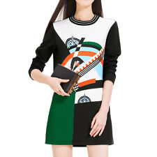 Women Long Sleeve Crew Neck Contrast Color Novelty Print Tee Dress