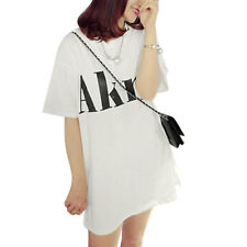 Women Round Neck Dolman Sleeves Letters Prints Casual Tunic T-Shirts