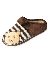 Man Plush Lining Cartoon Bear Pattern Leisure Warmer Slippers