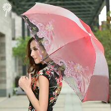Ladies Fashion Sun Umbrella Anti UV UPF 50 Lace Embroidery Compact Parasol