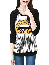 Lady Round Neck Long Sleeve Stripes Lip Prints Top Shirt
