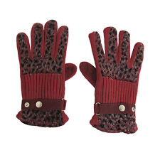 Leopard Pattern Full Finger Knitted Gloves for Ladies