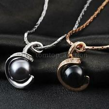 ROXI Fashion Crystal Rhinestone Black Pearl Pendant Necklace Women Jewelry T8H5