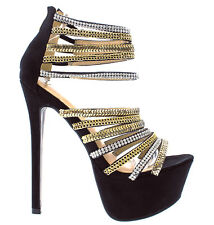 Black Platform Strappy Jeweled Open toe Stiletto Heels Women's shoes Maniac-11