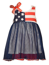Bonnie Jean Girls Red White Blue American Flag 4th of July Dress 3M 6M 9M New